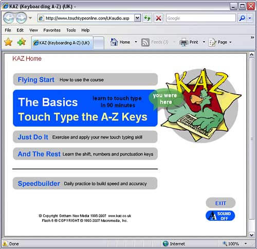 Kaz Touchtyping Learning System